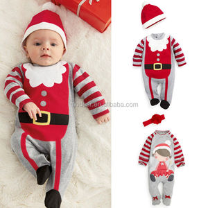 Christmas Boys Girls Infant Baby Romper Clothes Hat Costume Outfits Xmas Unisex