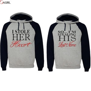 Winter/Autumn wholesale custom print pullover couple lover hoodies sweatshirt set with hood
