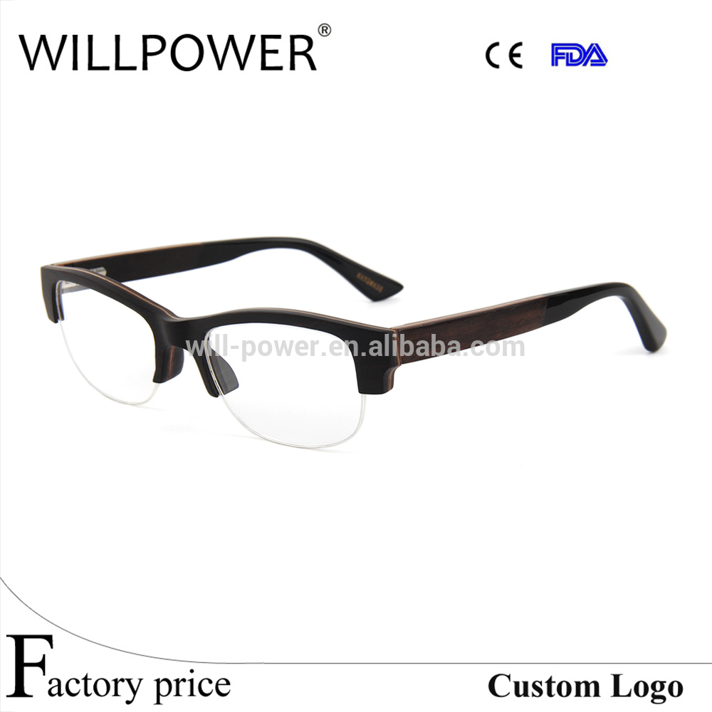 Wooden Franes And Acetate Tips Eyeglasses Frame Optical Top Selling