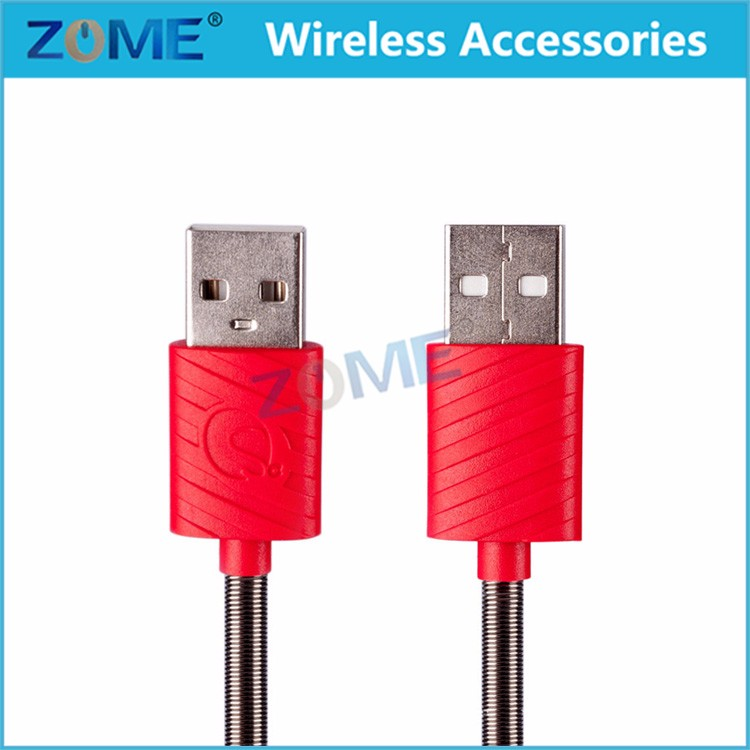 Spring USB 3.1 Type-C Male to Male Plug Sync Data Cord Coiled Cable