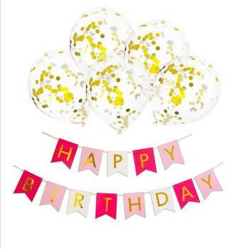 12 Inch Gold Confetti Balloons Happy Birthday Banner Set Kids 70th Party Supplies