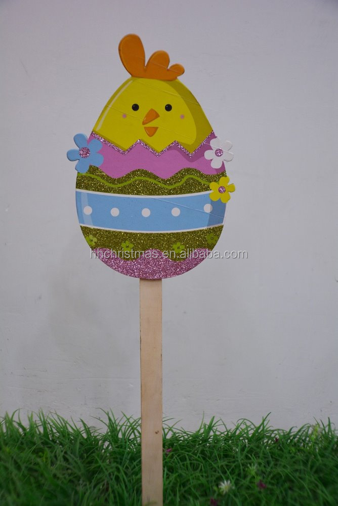 Eggs stick/rabbit with bumble bee stick for Easter party colorful eggs decorative for