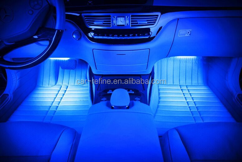 Mobilephone Bluetooth APP Control RGB Car LED Glow COB Atmosphere Lamps  Under Footwell Accent Light Color