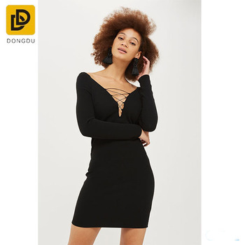 adbd435e77a4 Hot sale fashion long sleeve black tight dress plunge lace up mini bodycon  dress