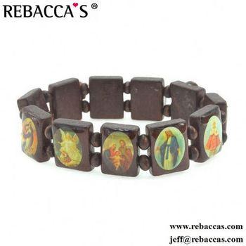 Rebaccas Lebanon Rosary Bead Bracelet Epoxy Wooden Saint