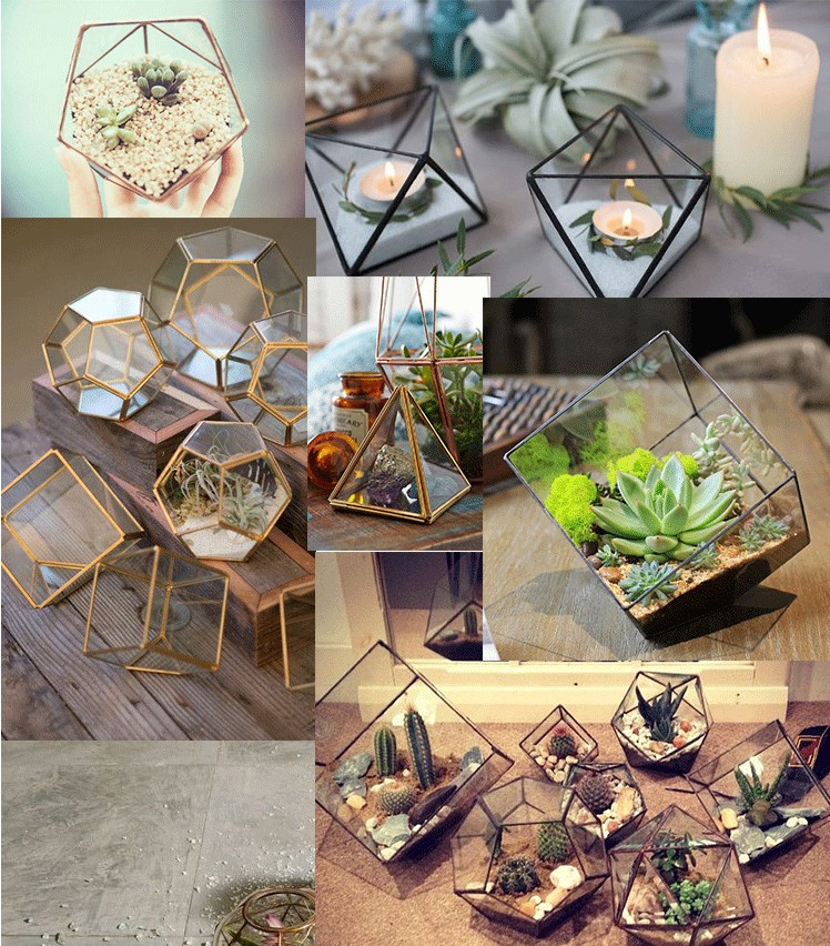 Nordic Style Gold Tabletop Metal Air Plant Display Stand Mini Himmeli Decor for Home Office Wedding Decor