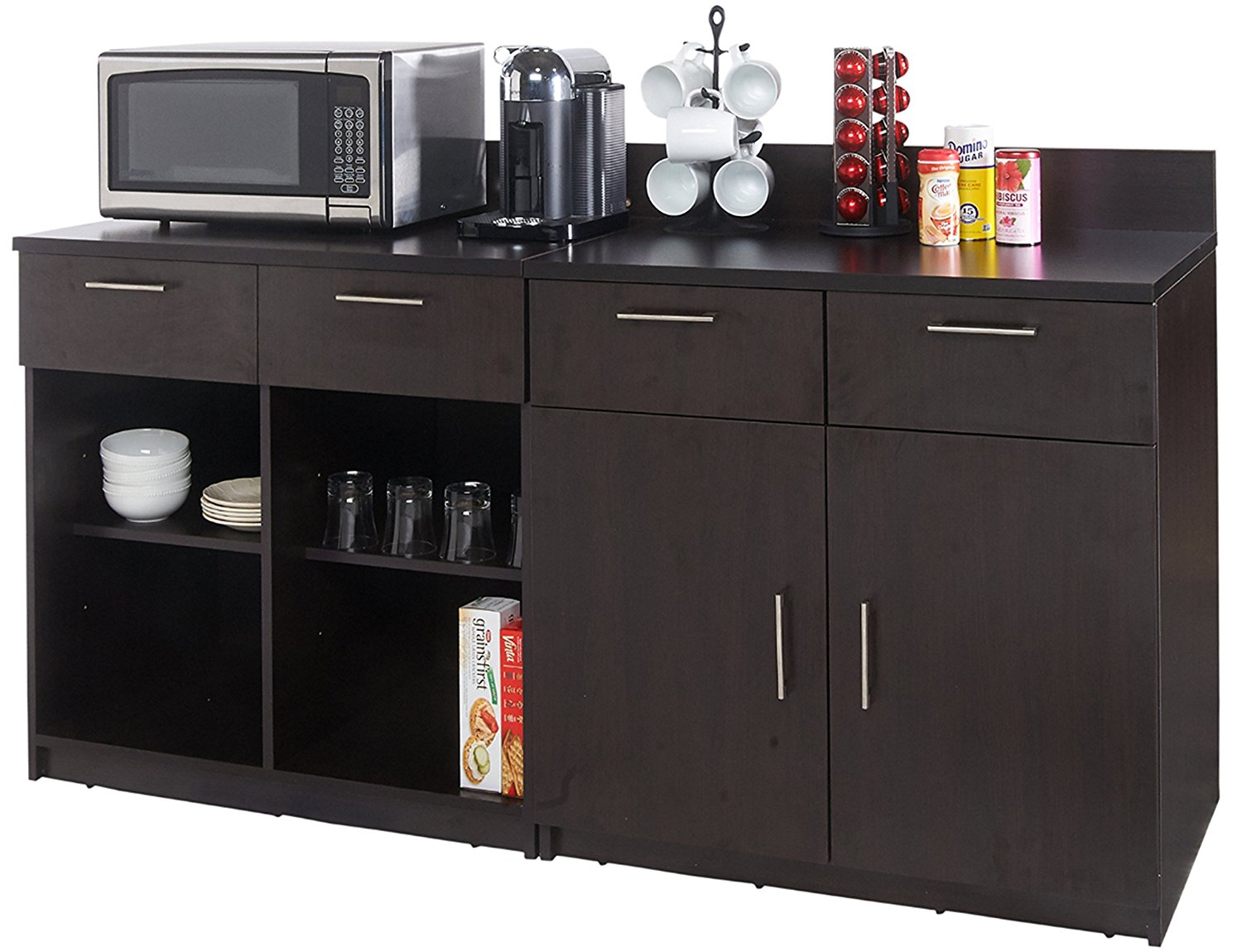 Coffee Kitchen Lunch Break Room Cabinets Model 4210 BREAKTIME 2 piece group Color Espresso - Factory Assembled (NOT RTA) Furniture Items ONLY.