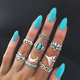 9Pcs/set Bohemian Vintage Moon Shape Silver Gold Plated Knuckle Nail Midi Finger Metal Ring Women Ring Set
