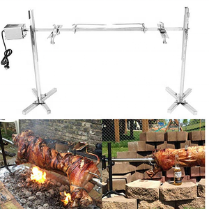 Electric Motor Stainless Steel BBQ Grill Roaster Goat Pig Chicken BBQ Spit Rotisserie Roaster