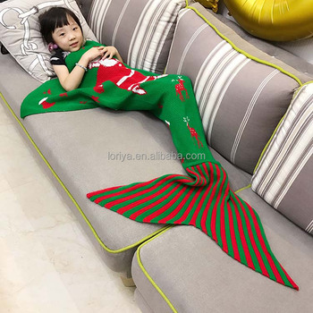 Cute warm winter crochet knit mermaid tail blanket for kids