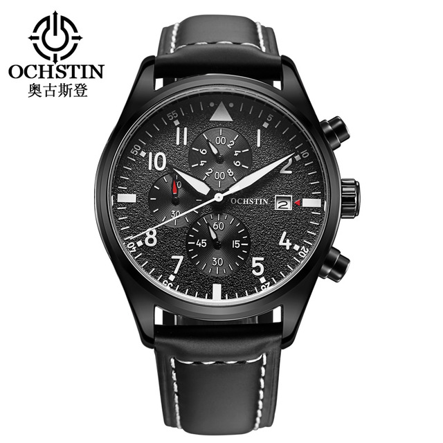 OCHSTIN Quartz Watch 3ATM Water Resistant Fashion Analog Men's Watch Luxury Genuine Leather Strap Trendy Man Wristwatch