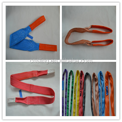 reinforced eyes polyester flat web lifting slings belt slings