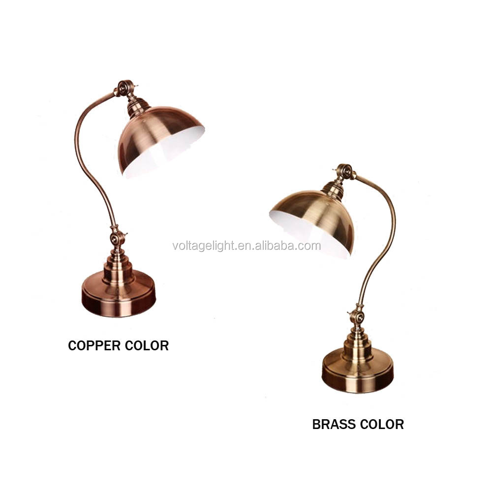 Classic Antique Brass Metal Table Lamp Flexible Moving Head ...