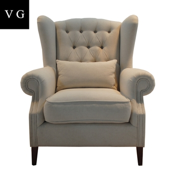 New Design Wood Frame Linen Fabric High Back Wing Chair With Pillow