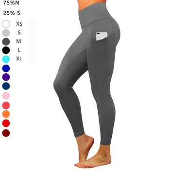 Hohe Taille heraus Pocket Yoga Hose Bauch Control Workout Yoga Leggings ausgeführt