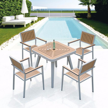 Aluminum Frame HPL Restaurant Chairs Stackable Bistro Chair