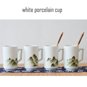 jingdezhen white ceramic mug with lid hand-drawn porcelain mug