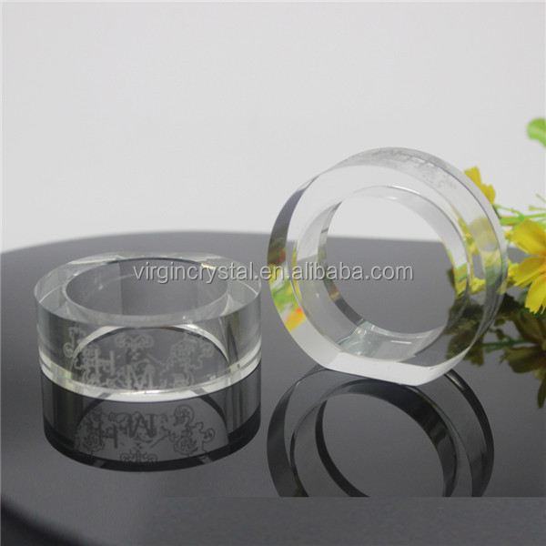 Simple elegant transparent round shape crystal glass napkin rings for wedding