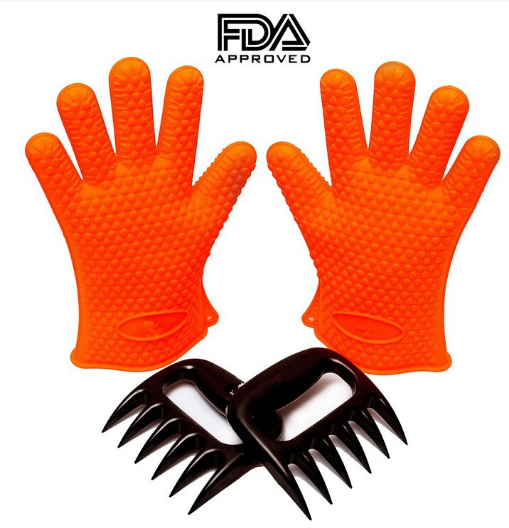 Silicone BBQ Cooking/Oven Glove and Bear Paws Meat Claws Set