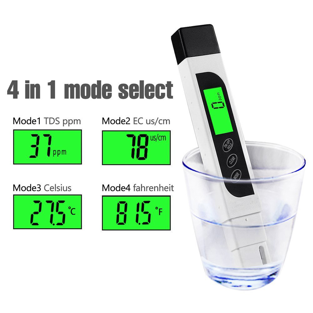 Water Quality Tester & PH Test Strips, Accurate Reliable, TDS Meter, EC Meter & Temperature Meter 3 in 1, Digital Waters TDS02