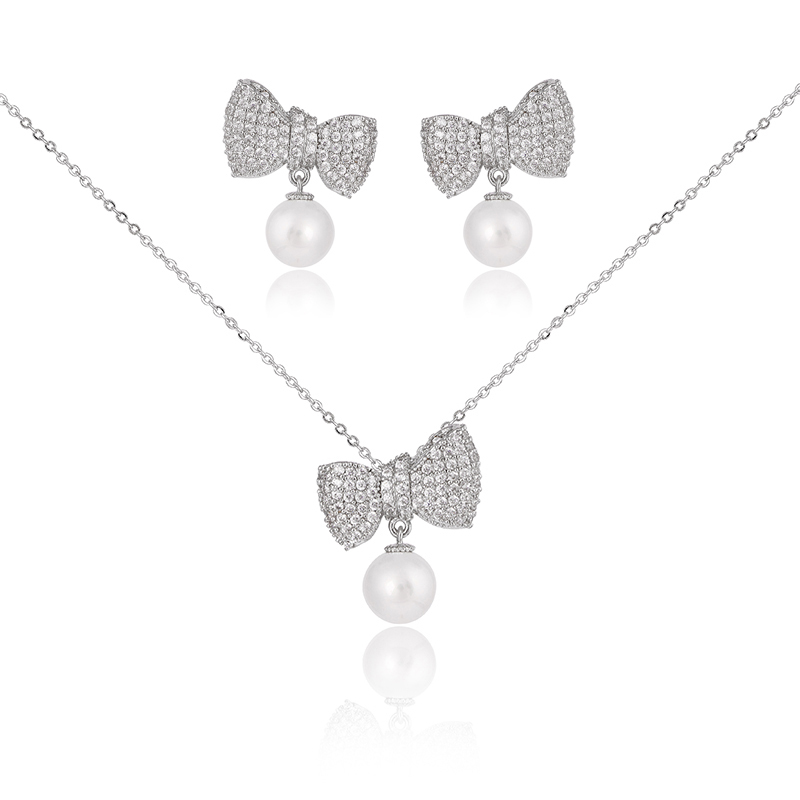 Lovely Korean Style AAA Cubic Zirconia Crystal Bow with White Pearl Earring and Necklace Sets Wedding Jewelry Set For Women