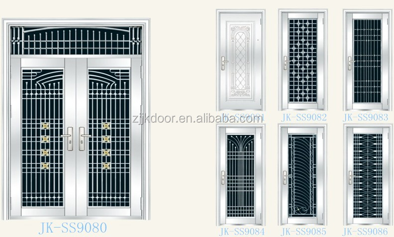 Jk-ss9016 Luxury Stainless Steel Entry Door Double Leaf Design ...