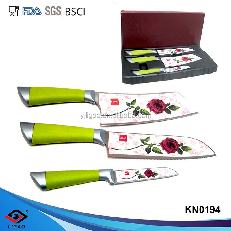 Rose printing butcher knife , fruit knife and bread knife ,