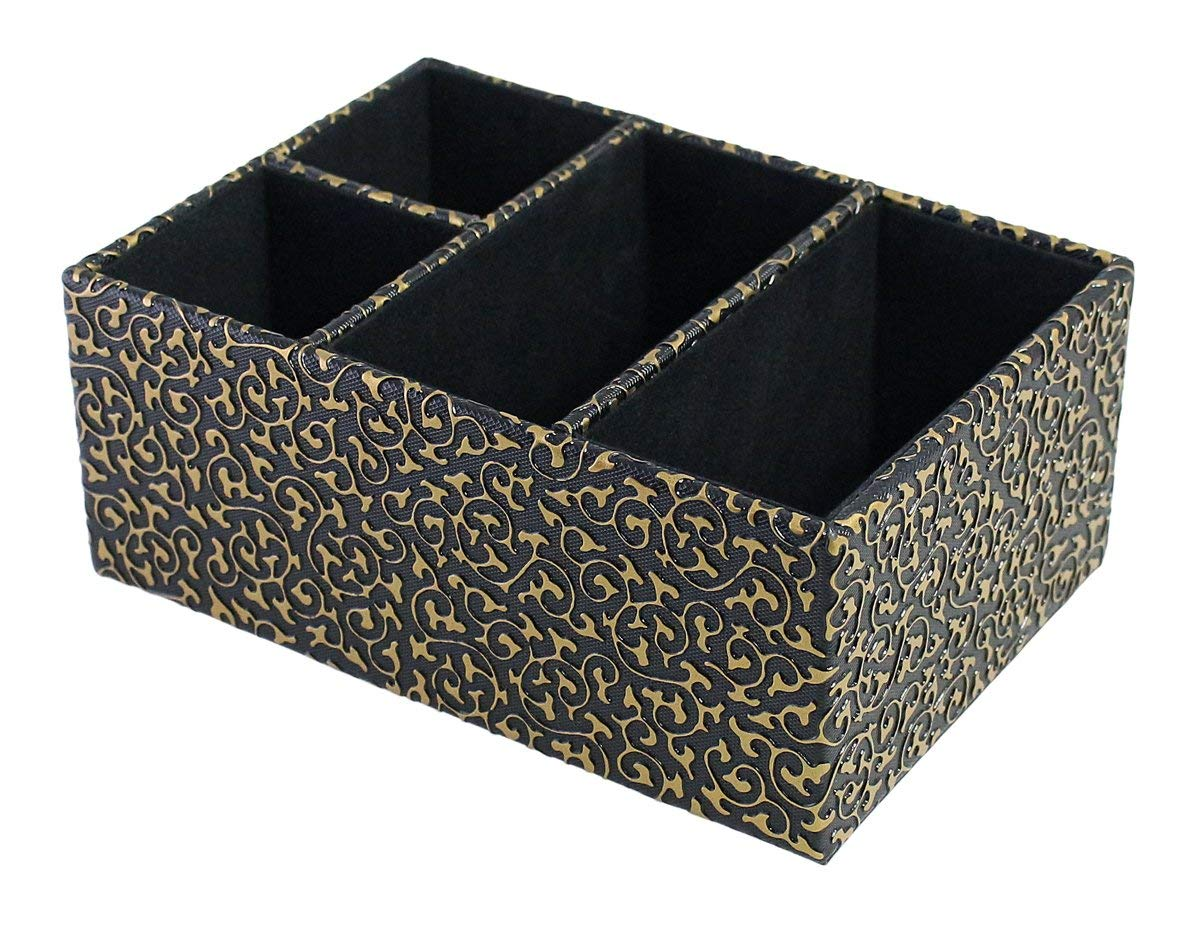 Victorian European 4 Compartments Black PU Leather with Gold Pattern Desktop Organizer Box for Stationery, Remotes, Pen, Staples, Smartphones Storage, High-end Tabletop Decor in Living Room Bedroom Office School
