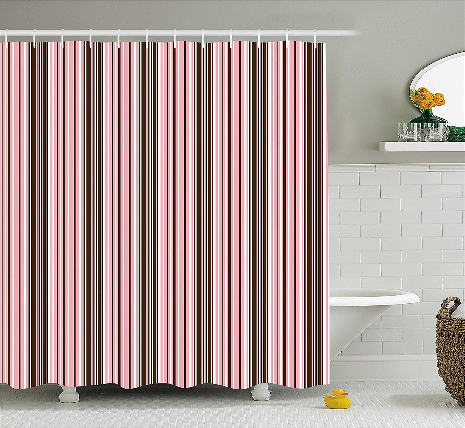 Get Quotations Ambesonne Brown Shower Curtain By Little Stars In Circles Cute Pink Hearts Polka Dots On
