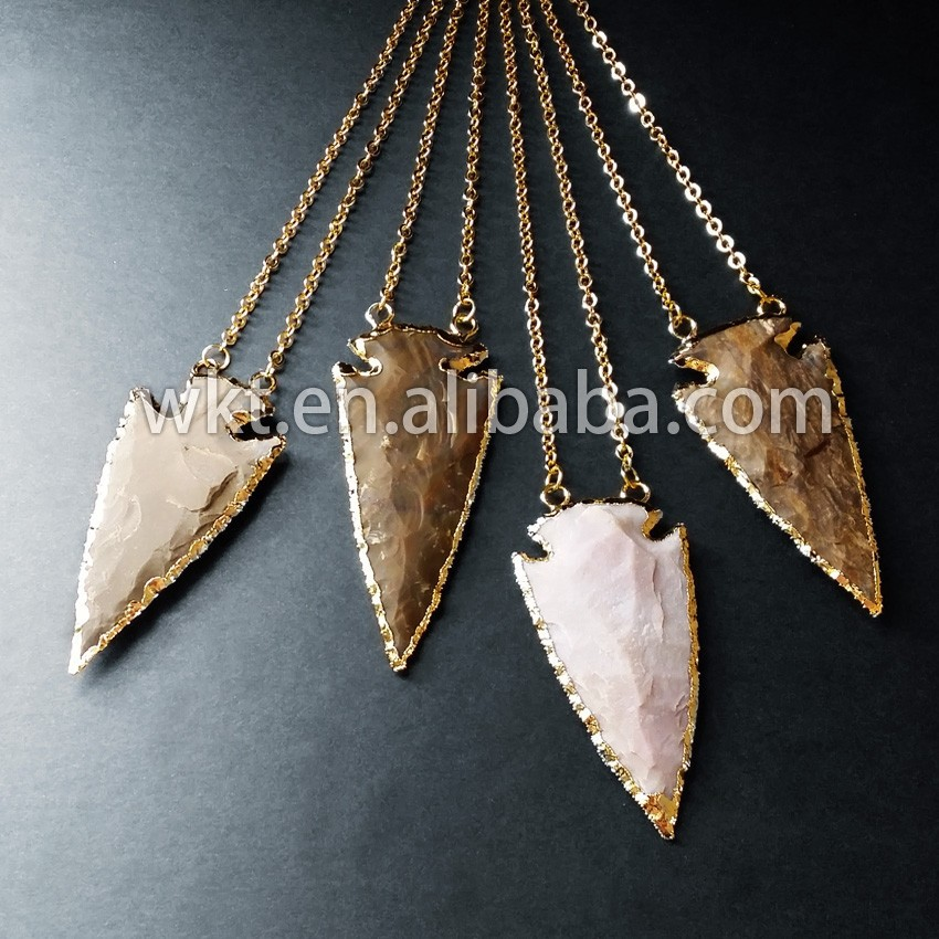 Gold Trimmed Agate Arrowhead Necklace,Indian Agate Stone Necklace ...