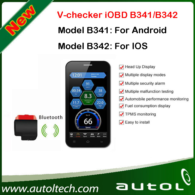 V - проверки iOBD маршрутный компьютер B341 / B342 по телефону экран к производительности его функции