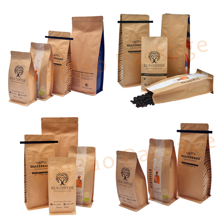 Wholesale Cheap Block Bottom 250G 500G 1000G 1Kg Custom Kraft Paper Coffee Packaging Bags With Valve