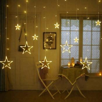 35b07d2416a Estrella Del Centelleo 12 Estrellas 138 Cortina Led Luces De Cadena ...