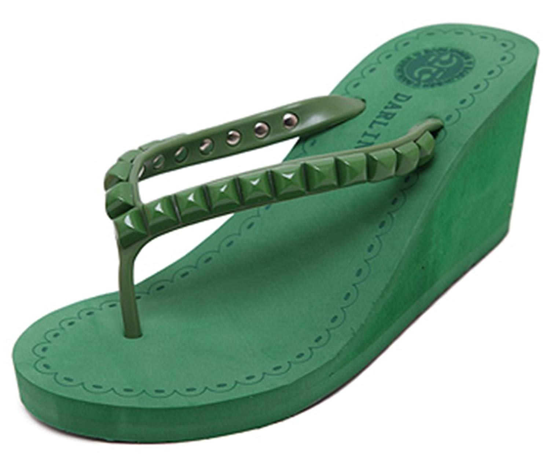 630a9f37d42 Get Quotations · IDIFU Women s Durable Studded Mid Heels Wedge Thong  Sandals Sandy Flip Flops