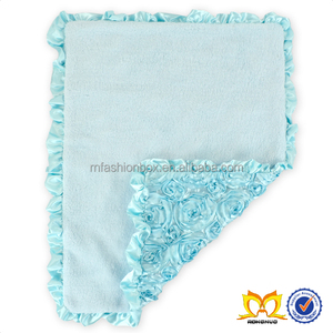 Baby Aqua Square Warm Woolen Blankets Polyester Material Rose Design Baby Blanket With Ruffle Blanket