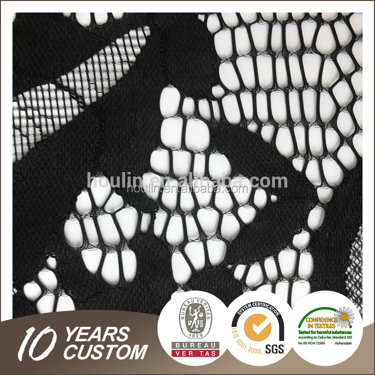 S1399 nylon spandex nice feelings with beautiful pattern crystal laser cut embroidery fabric design with handwork