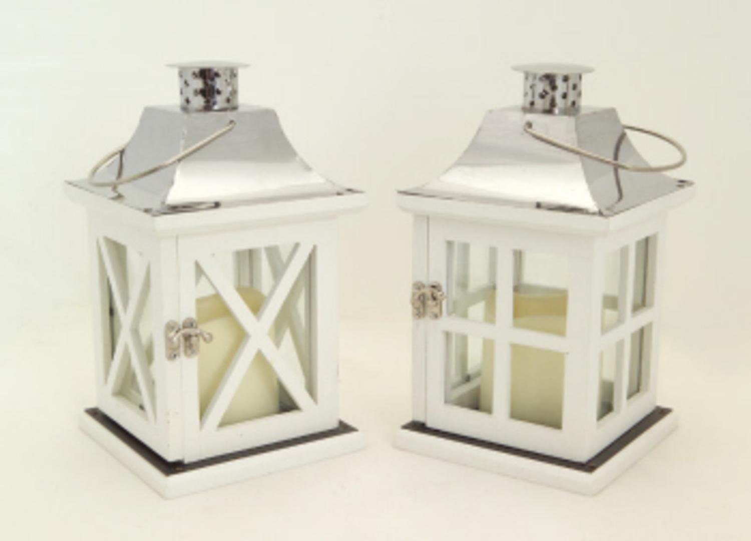 ... Pack Of 4 White And Silver Battery Operated Outdoor LED Candle Lanterns  W/ Timers 9