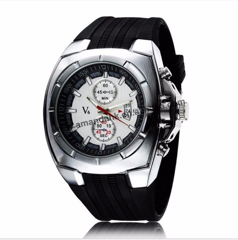 100pcs V6 super speed Men's Sport Watches Black Silicone Quartz Wristwatch Watchband Relogio Masculino Men Top Brand watch