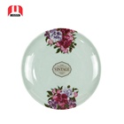Hot Selling Luxury Melamine Wares Imitated Bowlder Round Plastic Plate with Flower design