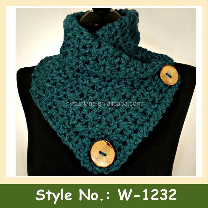 W,1232 moda crochet patrón de la bufanda de las mujeres botones de punto neckwarmer