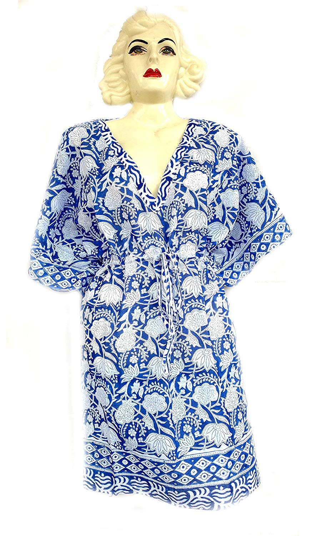 931260378927c Get Quotations · Rastogi Handicrafts 100% Cotton Hand Block Print Cover-up  Beach Caftan Women's Print Swimsuit