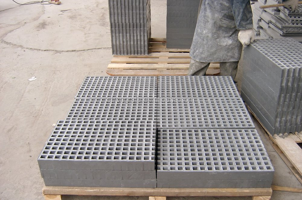 Heavy Duty Frp Molded Grating Height 50mm Mesh 38*38
