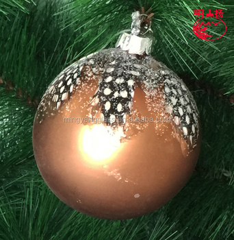 Hand Painted Customized Hanging Christmas Glass Ball with the feather