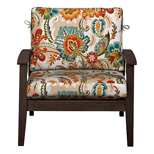 """Home Improvements Outdoor Patio Deep Seat Relaxed Chair Cushion Set Seasonal Replacement Cushions 17""""x24""""x4-1/2 back; 24""""x24""""x4-1/2 seat, 27 Prints/Colors (Red Teal Orange Plume)"""