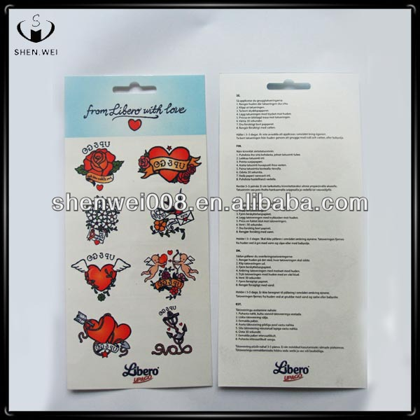 tattoo product acrylic sticker airbrush tattoo sticker