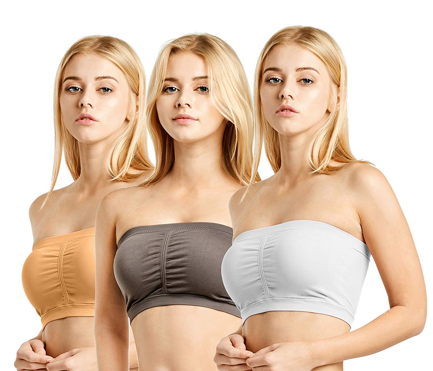 Unique Styles Seamless Bandeau Tube Top Padded Strapless Bras with Removable Pads