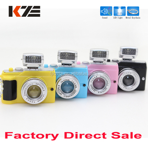Mini 4 colors camera shape led keychain with sound and light
