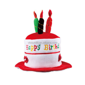 Children Birthday Gifts Party Supplies Happy Cake Velvet Hat With Candles
