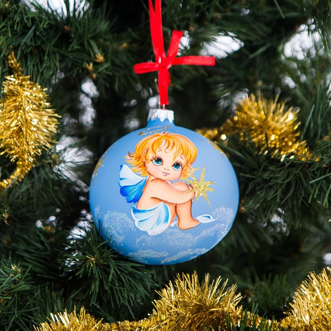 Get Quotations Handpainted Gl Christmas Ornaments Tree 100mm Handmade New Year Round Ball Decoration Xmas 2016