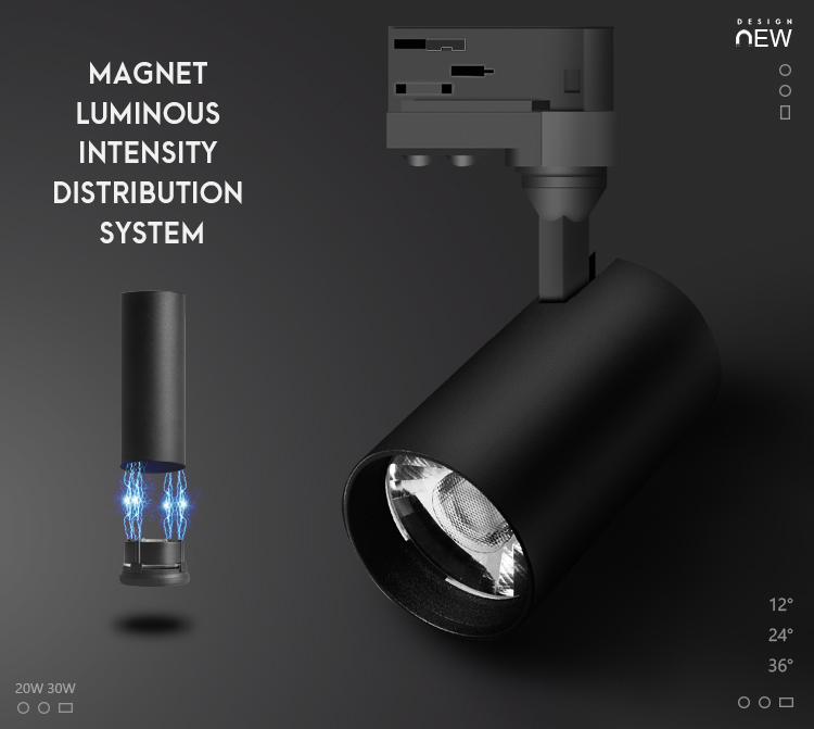 Magnet track light New Design Retail Shop/Gallery/Museum LED Track Spotlight 20W 30W